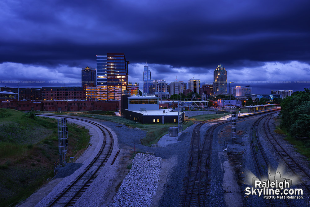 Storm clouds travel over downtown Raleigh and the Boylan Wye