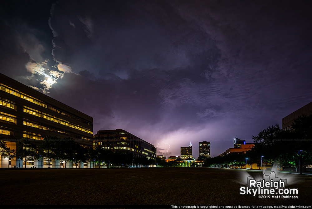 Moonlight above a summer storm in Raleigh