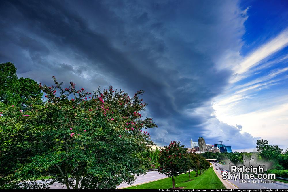 Shelf cloud approaching downtown Raleigh