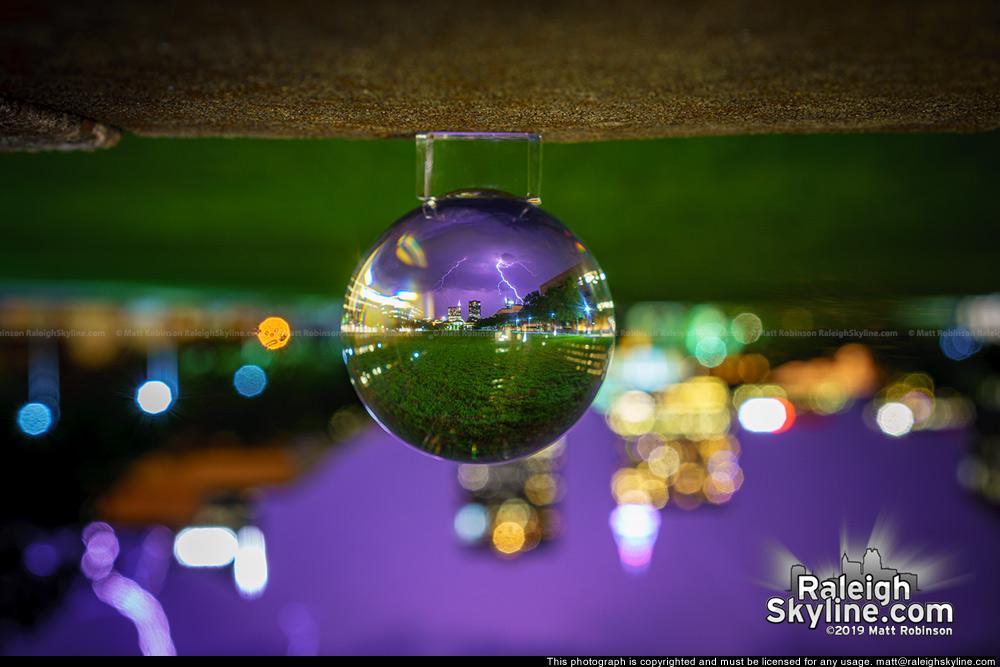 Lens ball with lightning