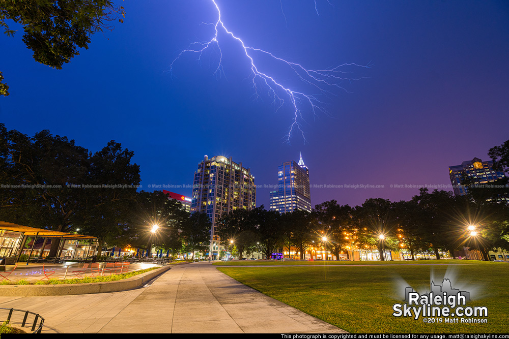 Lightning creeps above downtown Raleigh