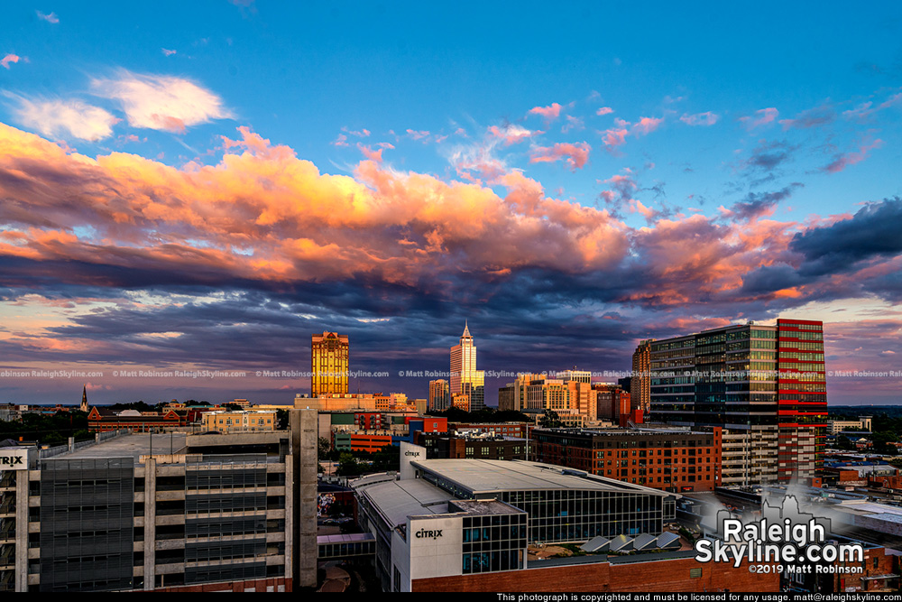 Colorful sunset with downtown Raleigh