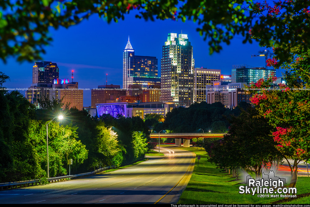 Raleigh skyline at night, summer 2019