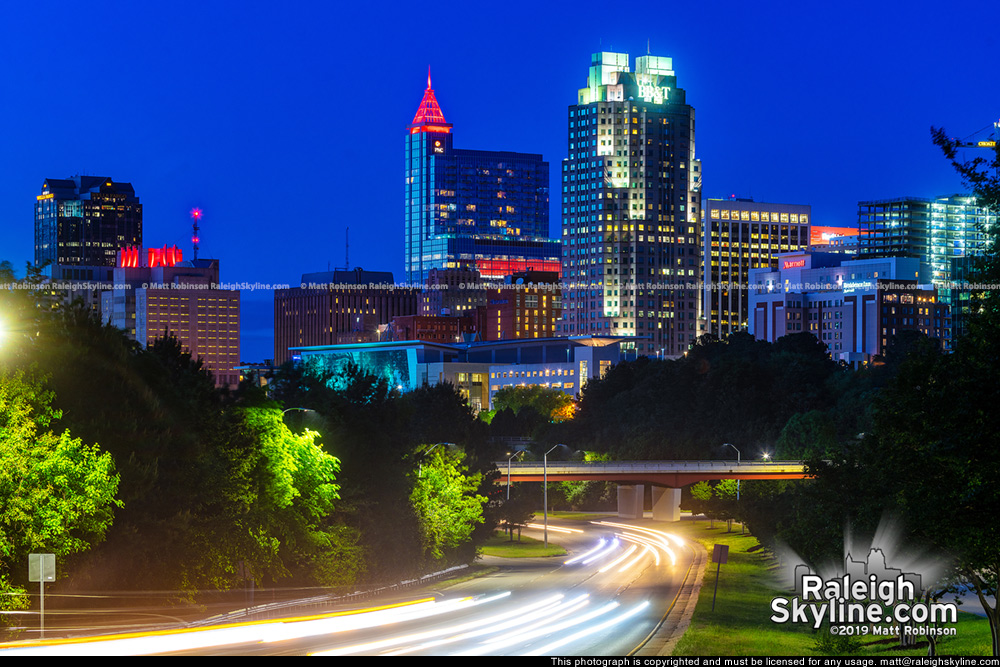 PNC lit red for the Carolina Hurricanes