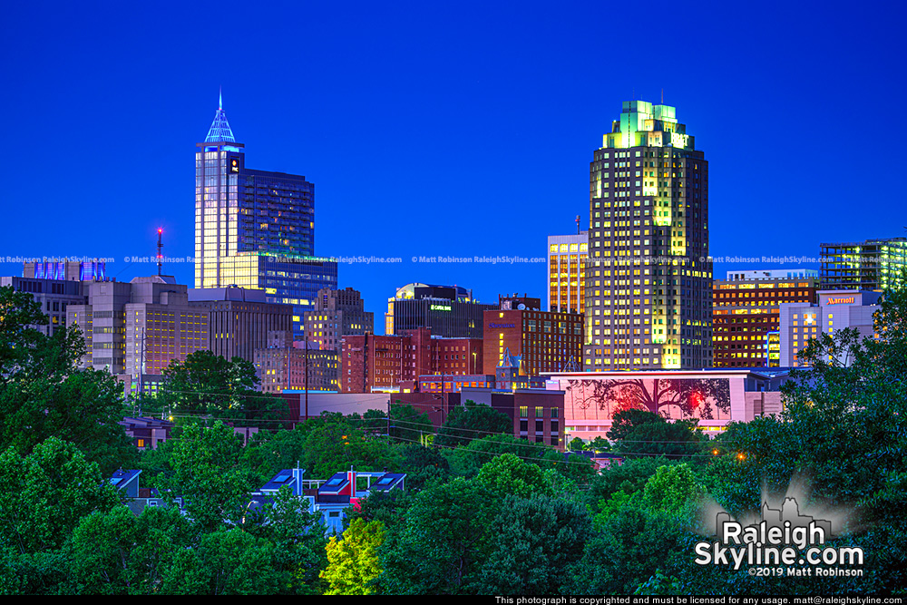 Raleigh Skyline at dusk 2019