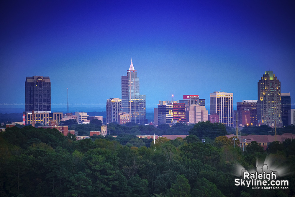 View of downtown Raleigh from near the top of the tallest Ferris Wheel ever at the North Carolina State Fair, Skygazer.