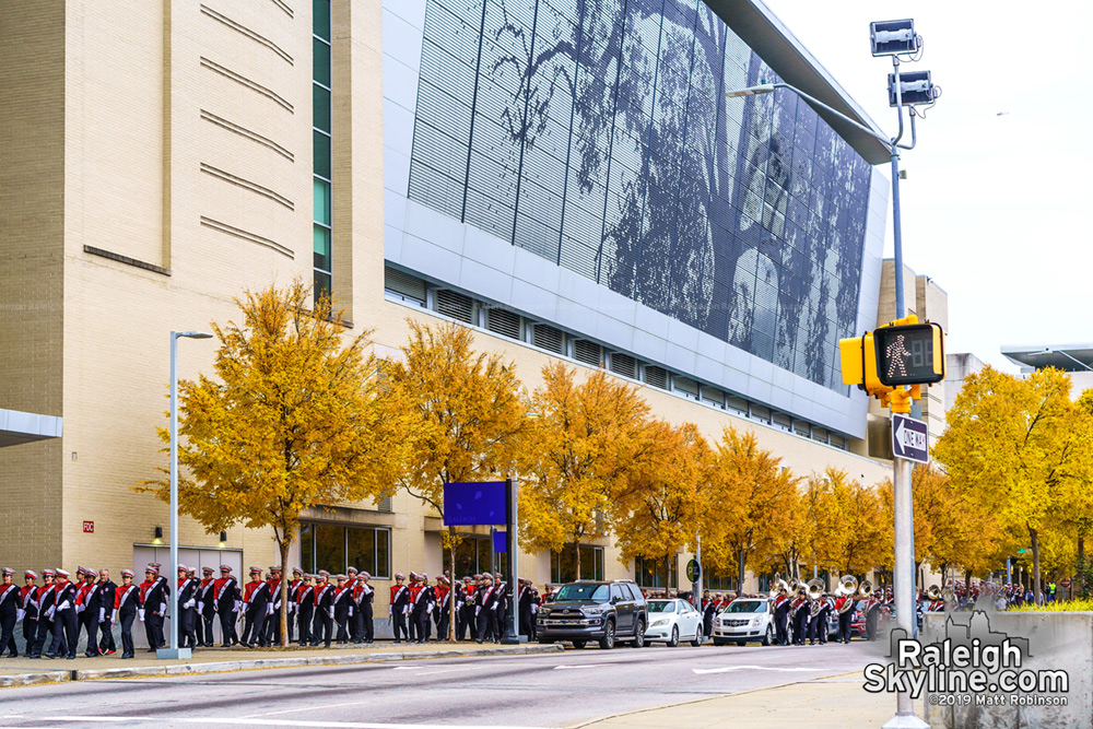 Fall colors in front on the Raleigh Convention Center with Christmas Parade