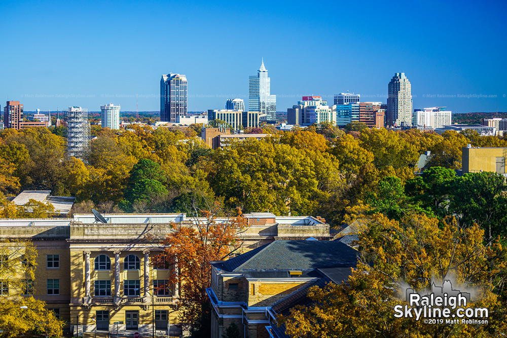 View from DH Hill and downtown Raleigh during Fall 2019