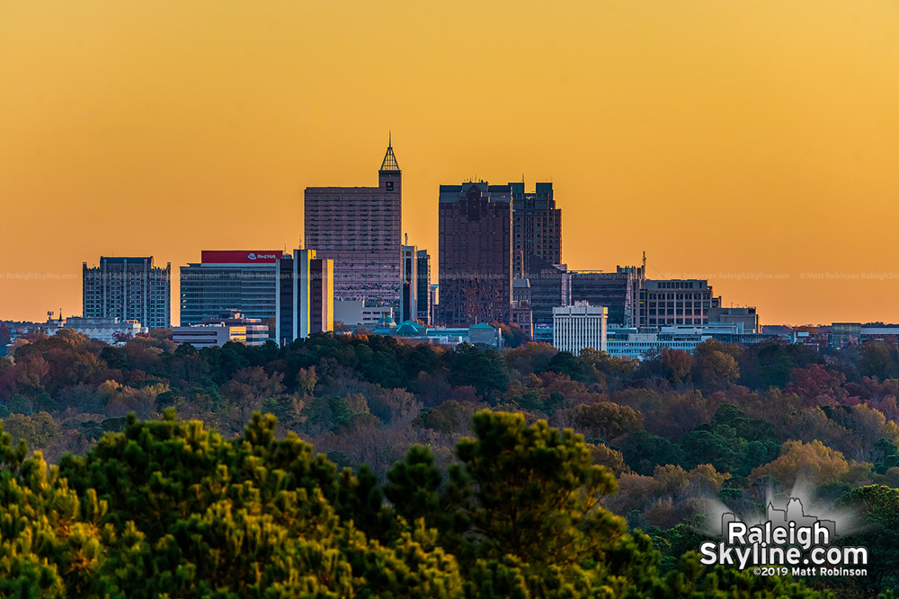 Raleigh Skyline Fall sunset from North Hills