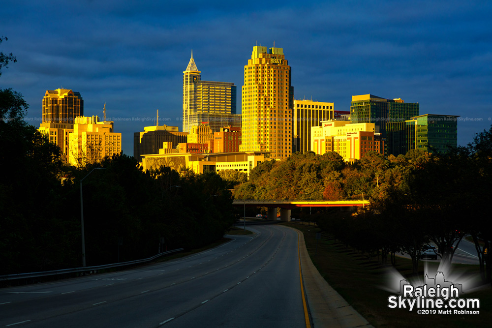 Last fall sunlight on downtown Raleigh skyline 2019