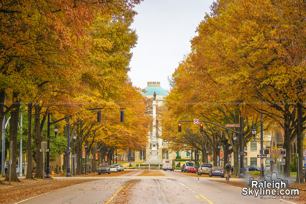 Fall Colors looking down Hillsborough Street in Raleigh towards the NC State Capitol