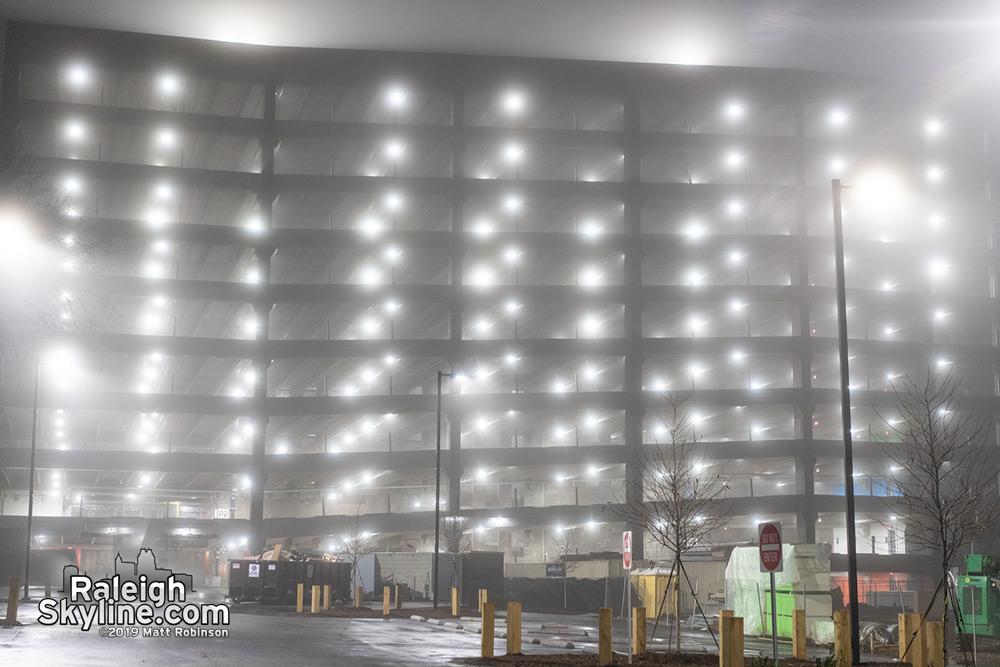 New parking garage with fog