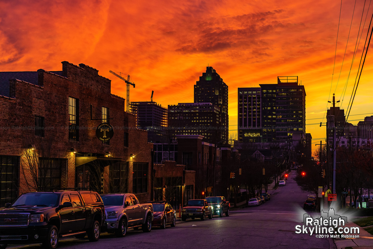 Vivid sunset from Davie street with Transfer Food hall
