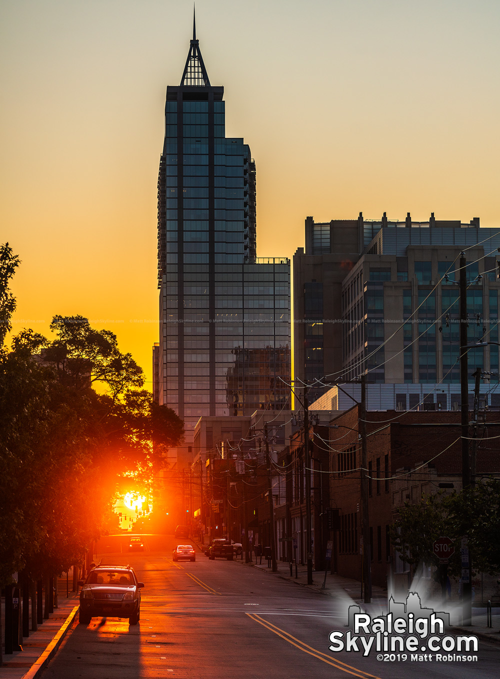 Raleigh-henge sunrise from Martin Street