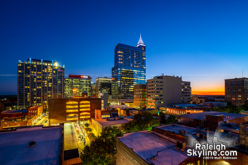 Fall sunset over downtown Raleigh