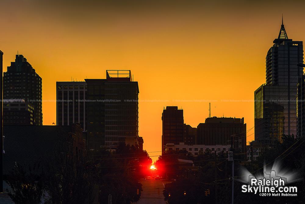 Raleigh-henge 2019.  Sunset aligns along the street grid.