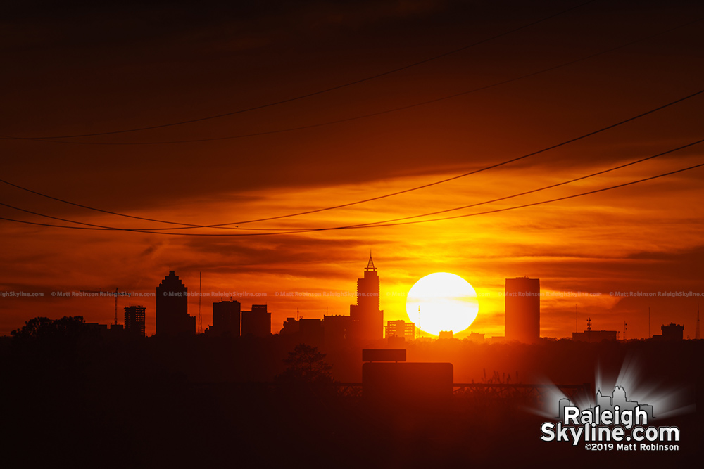 Sunset on April 1, 2019 behind downtown Raleigh