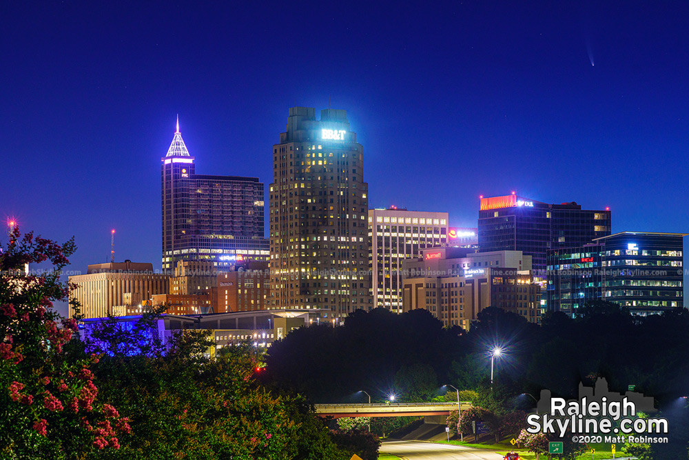 Comet NEOWISE over downtown Raleigh before sunrise on July 10, 2020