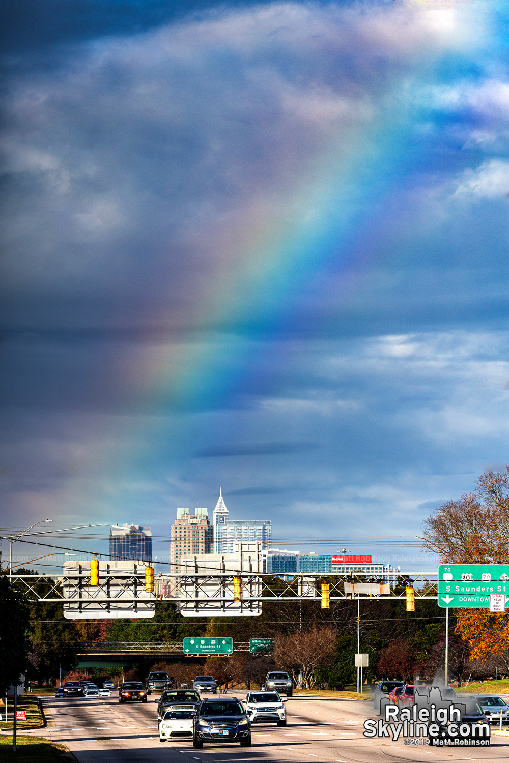 Rainbow into downtown Raleigh from Garner, the eighth rainbow of 2019.