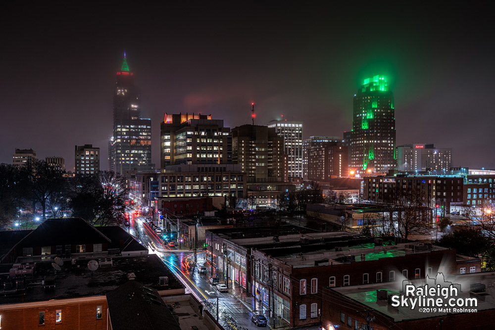 Raleigh's spooky and moody Christmas-time skyline for Friday the 13th