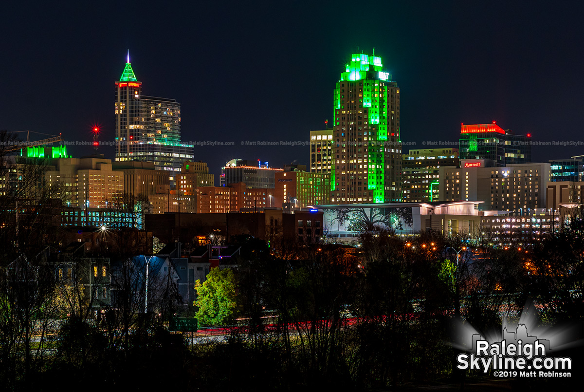 Downtown Raleigh skyline on the Winter Solstice, 2019