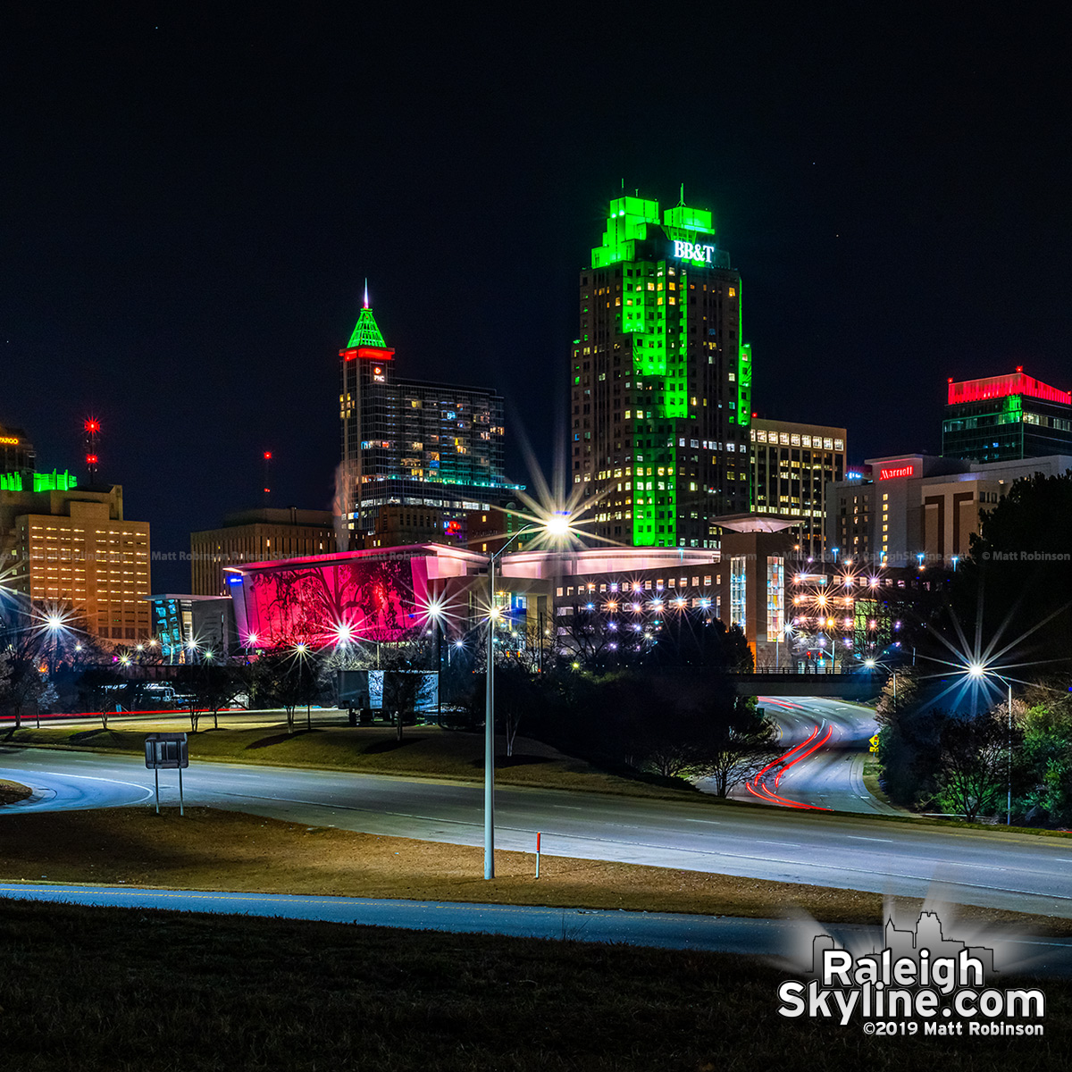 Downtown Raleigh on sparkling Christmas Night 2019