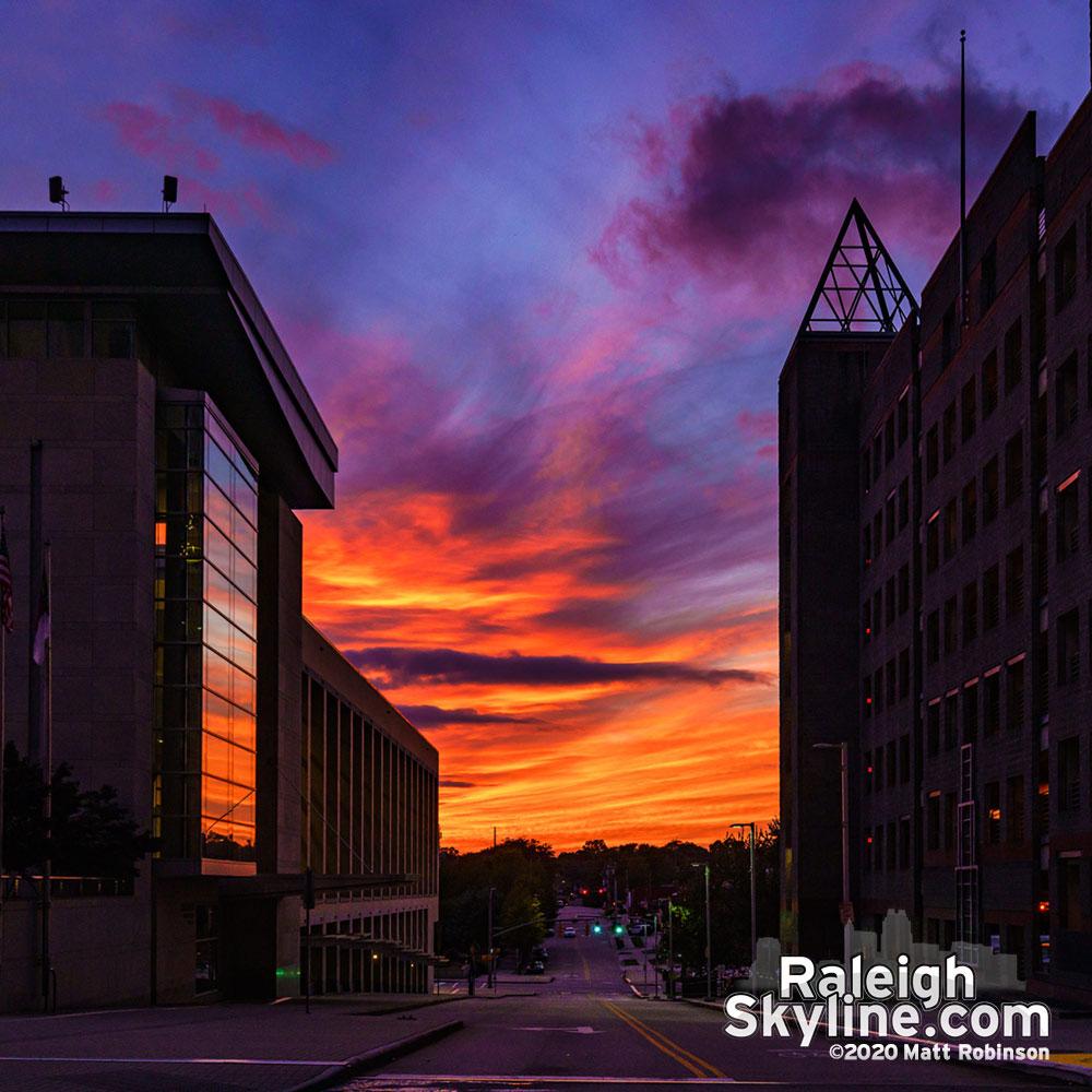 Sunset down Cabarrus Street