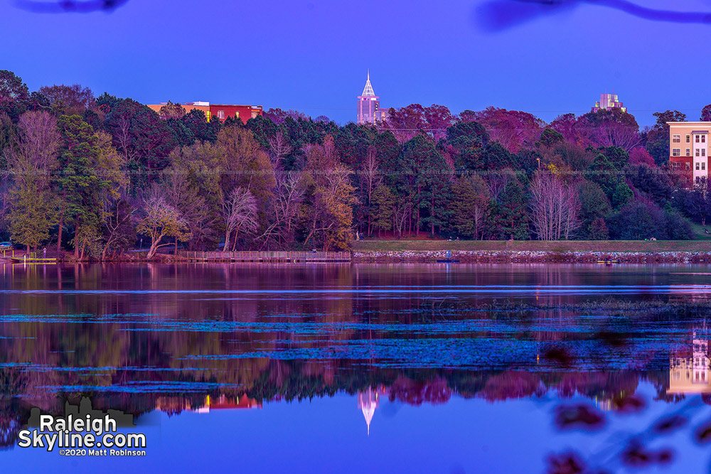 The only body of water that downtown Raleigh can reflect in, Lake Raleigh.