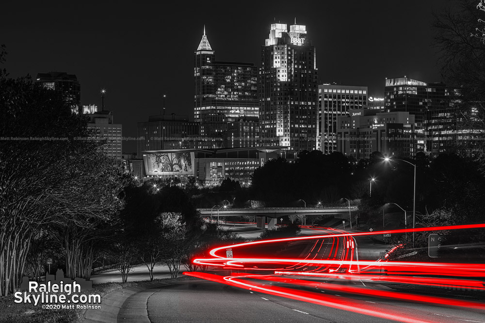 Raleigh Skyline in Black and White and Red, 2020