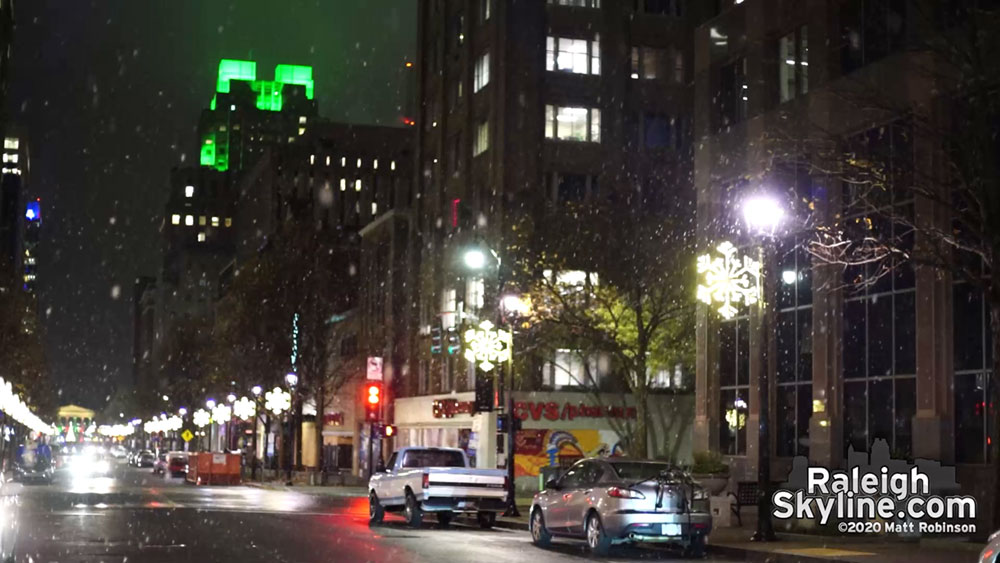 Downtown Raleigh snow on December 7, 2020