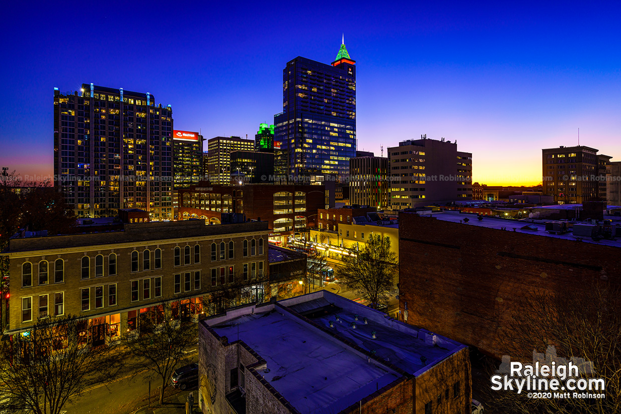 Downtown Raleigh Skyline at twilight