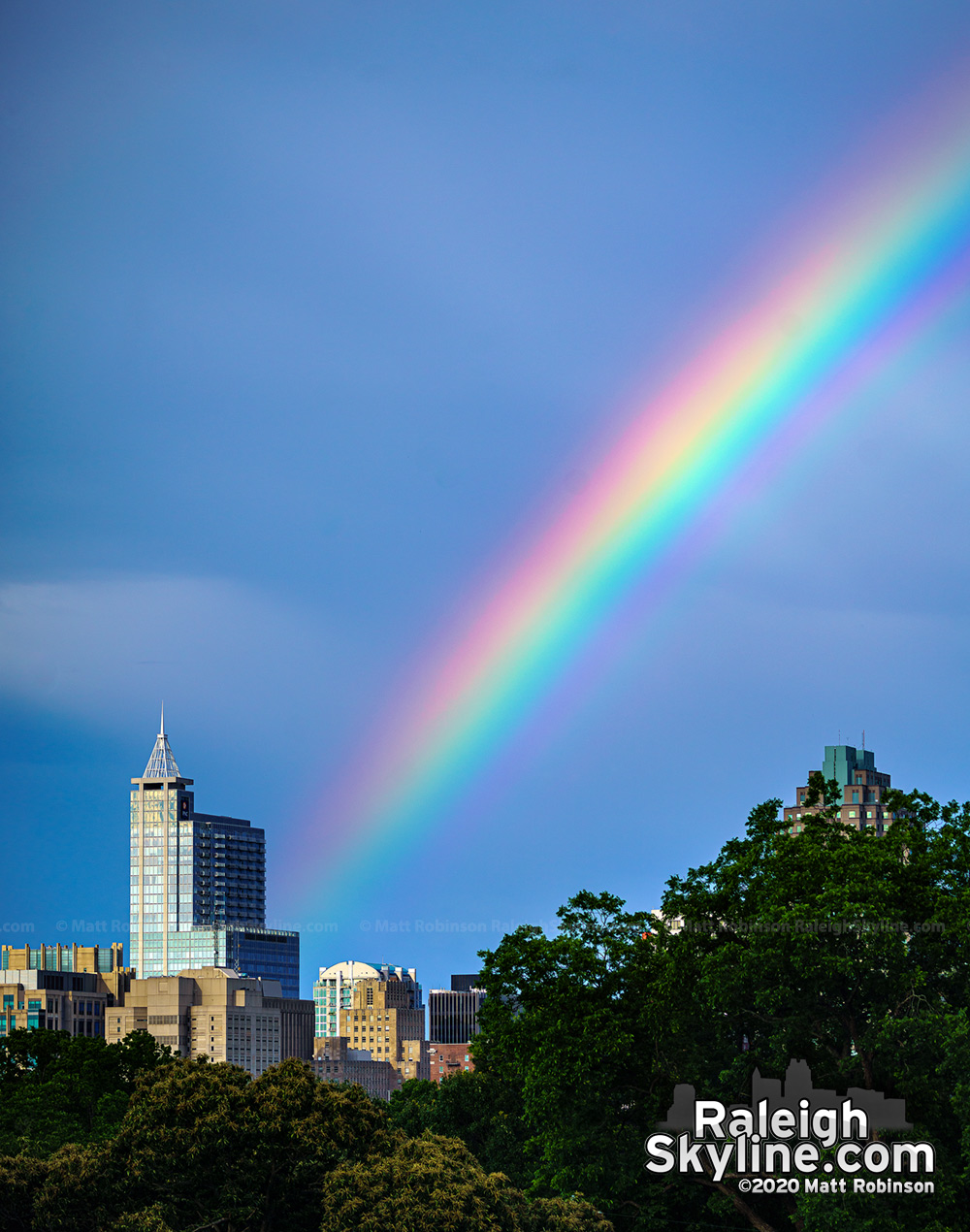 Vivid rainbow comes down near PNC Plaza