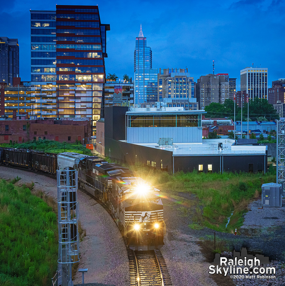 Norfolk Southern train and the Boylan Wye traveling out of downtown Raleigh