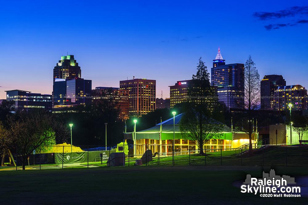 Raleigh Skyline at Dusk from Chavis Park
