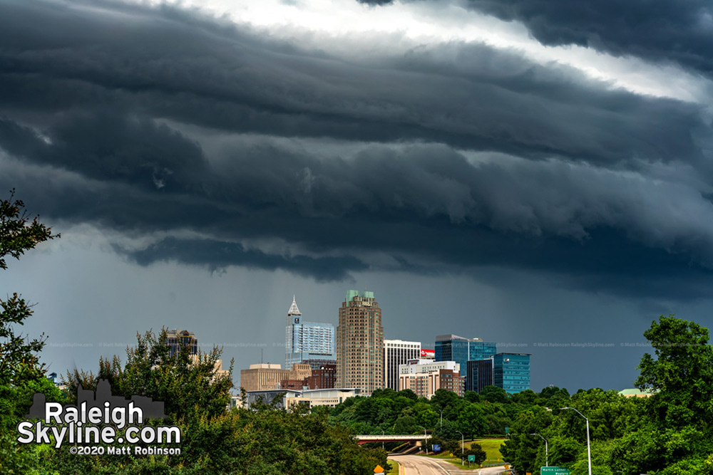 Dramatic shelf cloud looming over downtown Raleigh this evening.