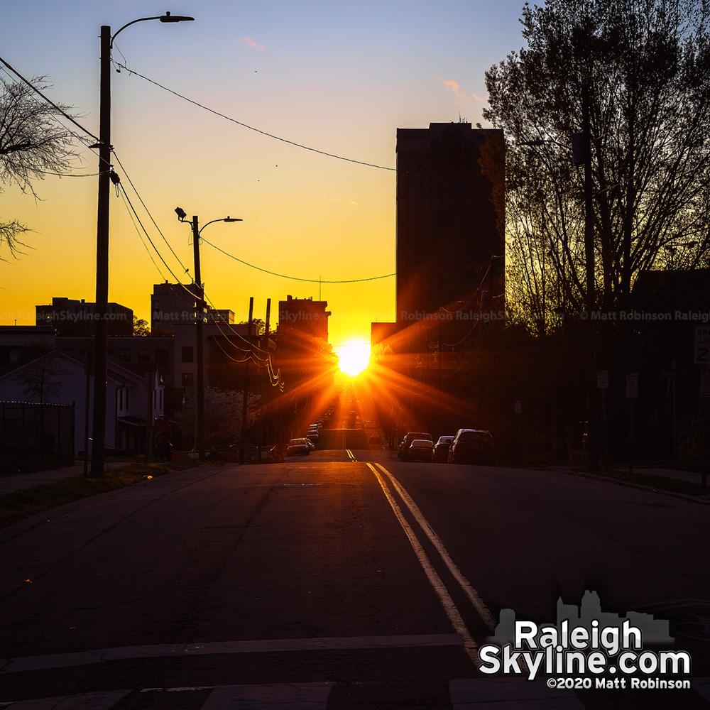 Raleigh-henge sunset, Spring 2020