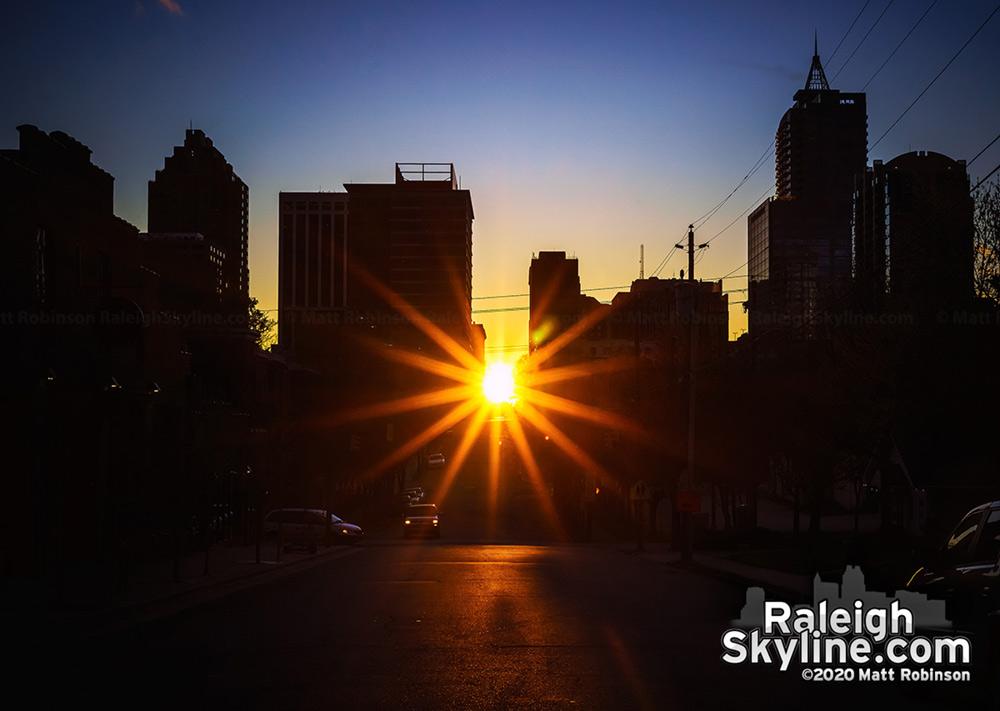 Sunburst as the sun aligns with the downtown Raleigh street grid