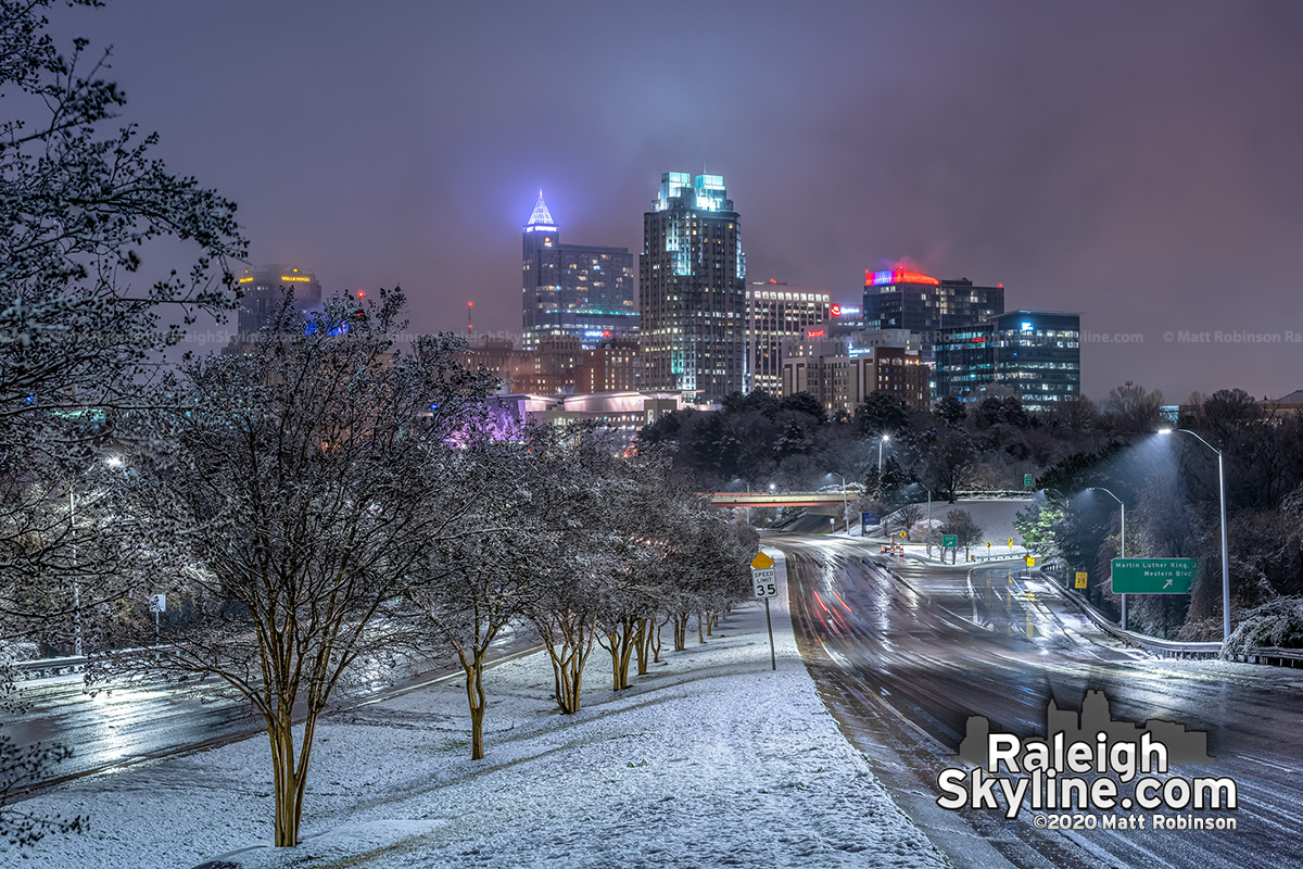 Raleigh Skyline after the snow of February 20, 2020