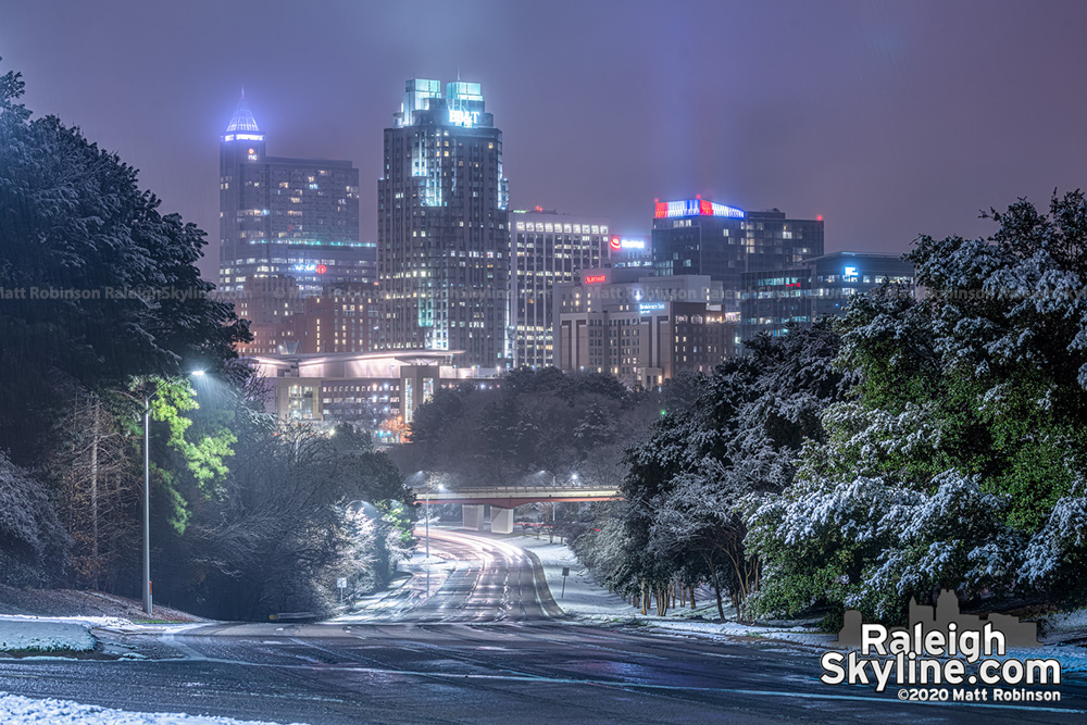 Snow covered trees with downtown Raleigh
