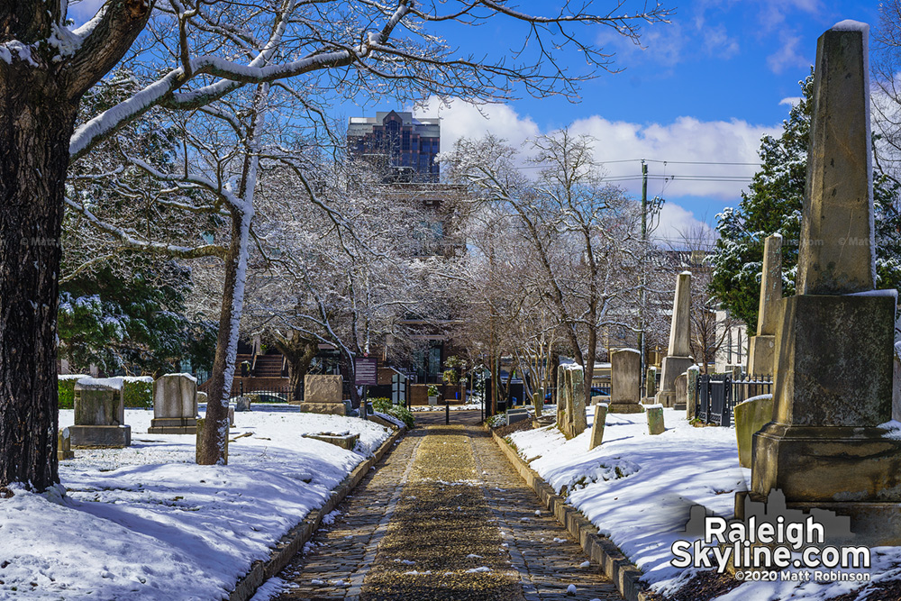 Raleigh City cemetery path in the snow