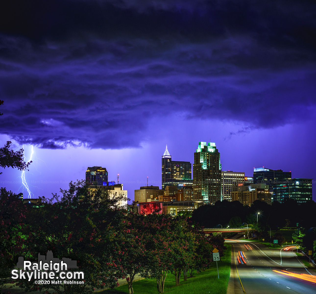 Lightning from a thunderstorm rolling past Raleigh. Downtown stayed dry. ⚡