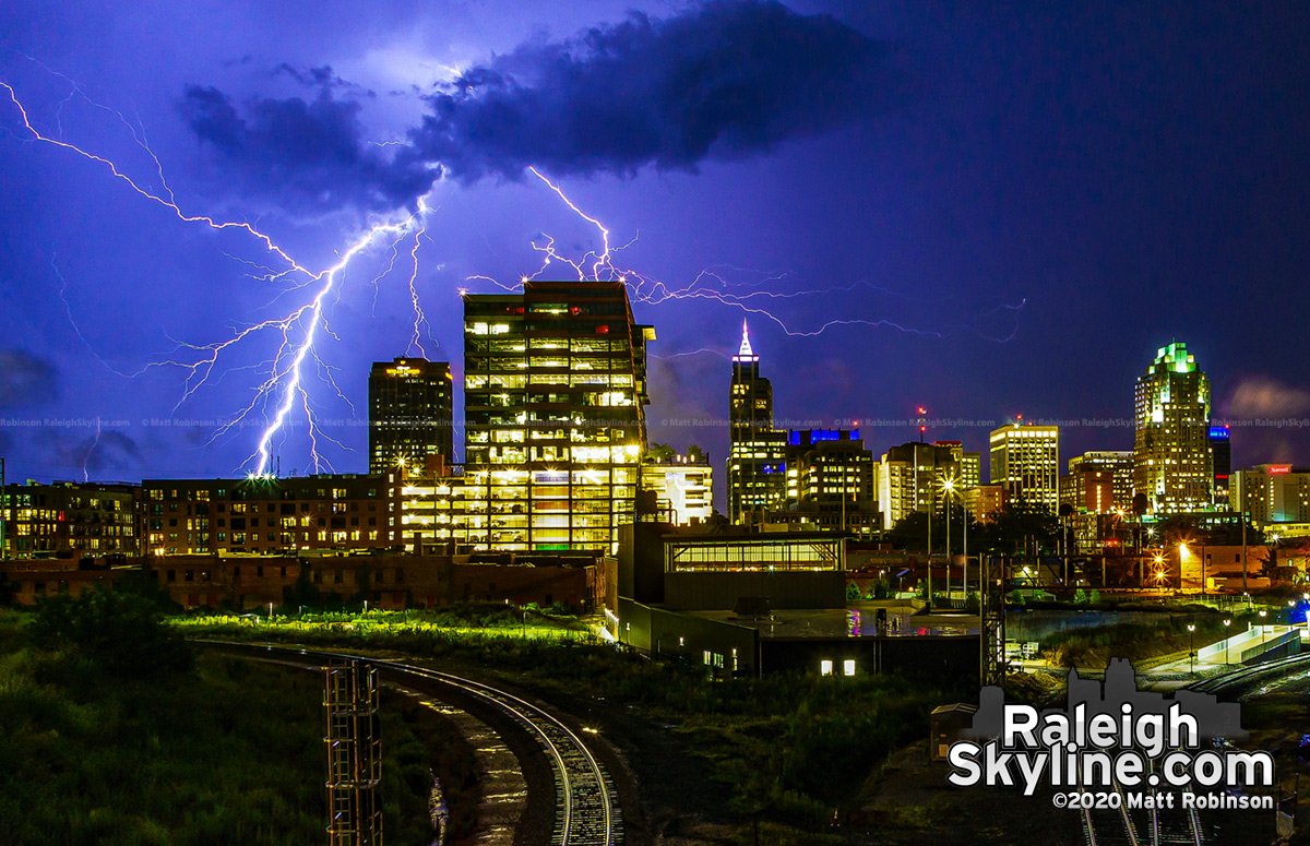 Cloud to ground lightning behind the Raleigh Skyline from Boylan