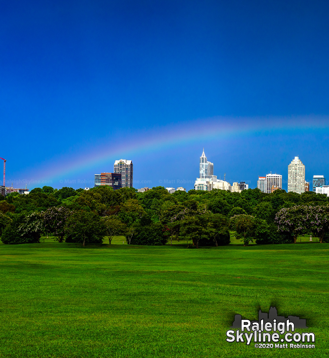 Another low rainbow this afternoon over downtown Raleigh.