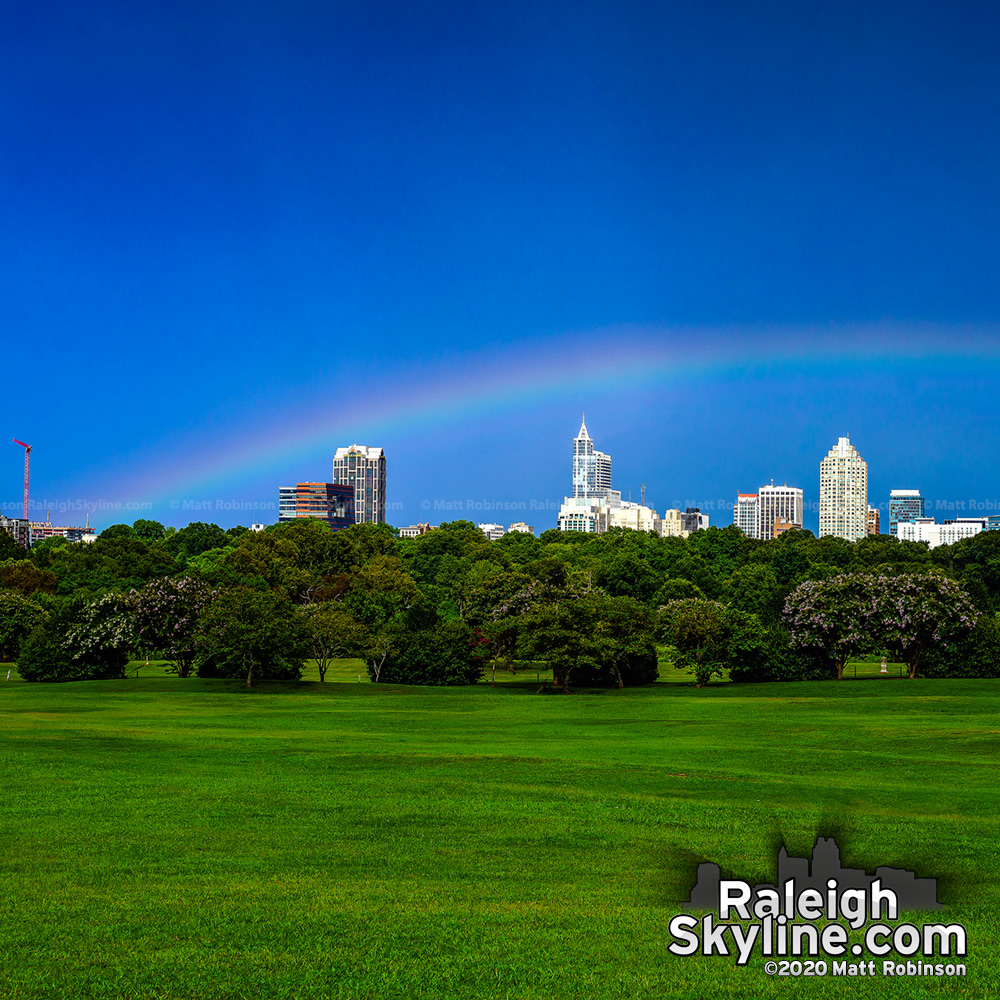 Another low rainbow this afternoon over downtown Raleigh.  Rainbows that occur earlier in the afternoon will appear lower on the horizon due to the sun's position being higher in the sky.