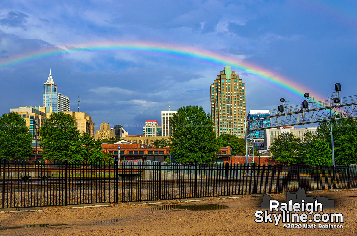 Rainbow over downtown Raleigh with the Depot