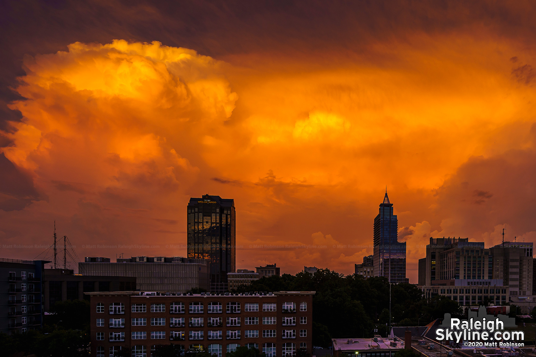 A thunderstorm to the east of downtown Raleigh lit up just after sunset on August 8, 2020