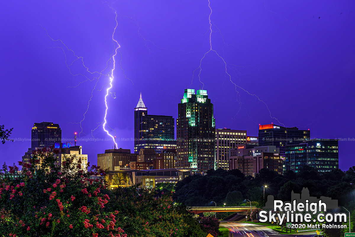 The clock strikes midnight in Raleigh on July 10, 2020. ⚡ Downtown Raleigh lightning