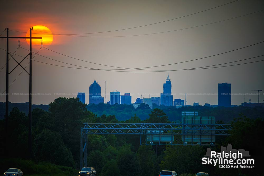 Smokey sunset from West Coast fires on September 15 over Raleigh