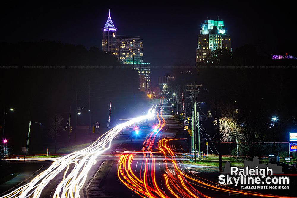 Traffic streaming up and down Lake Wheeler Road with downtown Raleigh