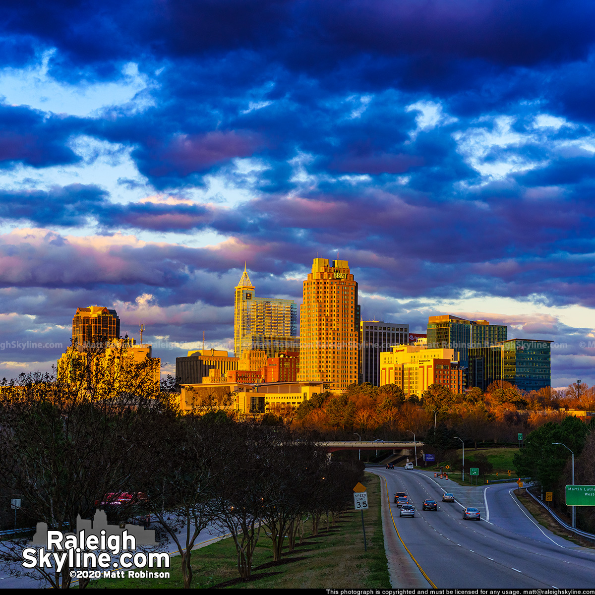 Pastel sunset from South Saunders and downtown Raleigh